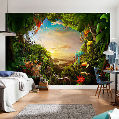 Jungle Forest Animal Tree Wallpaper Mural Photo Wall Home Room Poster Decor