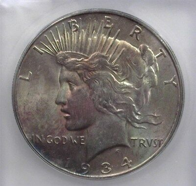 1934-D Peace Silver Dollar Icg Ms64 Valued At 475!
