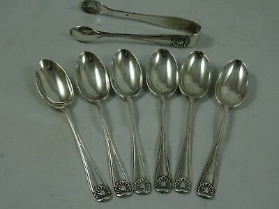SET X 6 solid silver TEA SPOONS & TONGS, 1919, 80gm