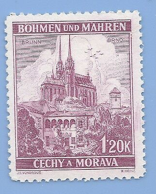 Nazi Germany Third Reich Nazi B&M Buildings 1.20k Stamp MNH WW2 Era stamp