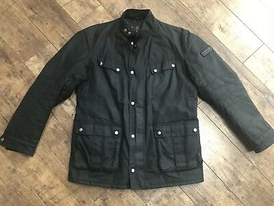 Men's Barbour International Duke Black Wax Quilted Jacket Large Ex Cond!