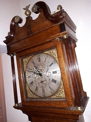 Antique 8 Day Pattison Of Halifax longcase Grandfather Clock in working order