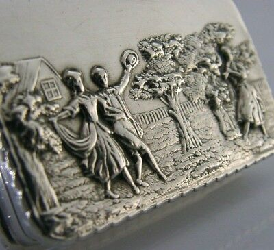 Superb English Solid Silver Snuff Box Victorian Picture Top Style 1975
