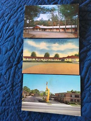 Lot of 3 roadside motel postcards, Duncan Lake NH, West Bend IA, Orangeburg SC