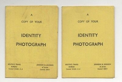 JERSEY, CHANNEL ISLANDS IDENTITY / PASSPORT PHOTOGRAPH CARDS x 2