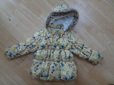 NEXT baby girls yellow floral padded jacket coat AGE 18-24 MONTHS EXCELLENT