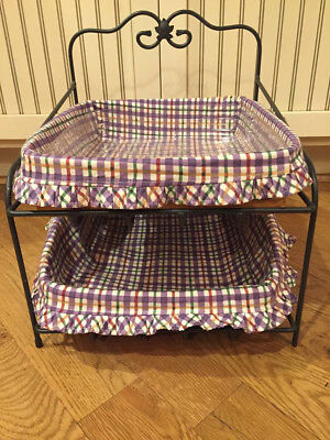 Longaberger Wrought Iron Paper Tray With 2 Baskets & Blueberry Plaid Liners