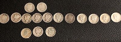 17 Silver US Dimes Barber Mercury Roosevelt Coins US See Dates & Cond