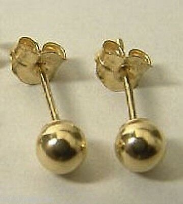 NEW Solid 14K Yellow Gold 5mm BALL Stud Earrings Gorgeous SHINY Polish Ret$99.95