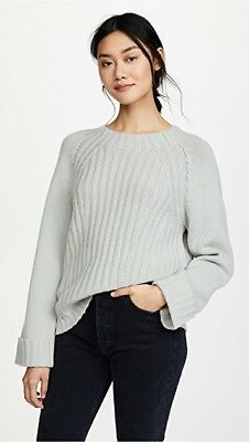 Vince High-Low Ribbed Wool & Cashmere Sweater Rolled Cuffs, Raglan sz XS,M $345