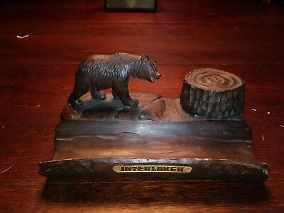 SUPERB 19thc BLACK FOREST FIGURAL OAK CARVED BEAR INKWELL W PEN REST C.1870