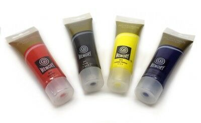 ACRYLIC PAINTS SET 4 x 120ml Tubes Red Blue Black Yellow Canvas Crafts Painting