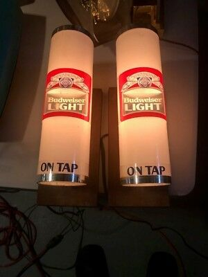 2 Budweiser Beer Lighted Wall Sconce - Pair