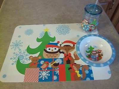 New Christmas Holiday Animals Children's Placemat - Bowl and Floating Straw Cup