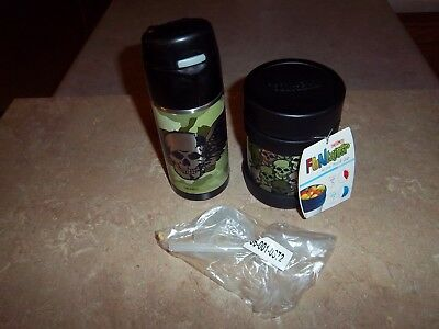 SkullsThermos Brand Funtainers - Straw Flip Top and Food Soup Container Lunch