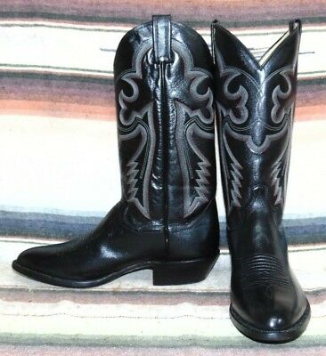 386f2180aff MENS VINTAGE SANDERS Black Leather Handcrafted Cowboy Boots Mens 9 D New In  Box