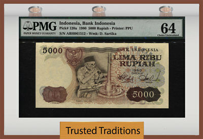 TT PK 120a 1980 INDONESIA BANK INDONESIA 5000 RUPIAH PMG 64 CHOICE UNCIRCULATED!