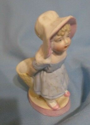 Rare Antique German Bisque Girl w Basket Match Holder & Striker Figurine