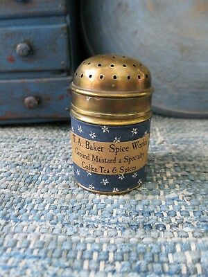 Small Early Antique Brass Spice Shaker Blue Calico