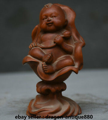 12CM Old Chinese Boxwood Wood Carved Lotus Leaf Tongzi Boy Baby Statue Sculpture