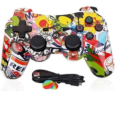 NEW Wireless Controller For PS3 Bluetooth OUBANG  With Cable  (Graffiti)