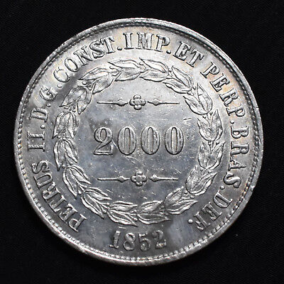 1852 Brazil, Pedro Ii,  2000 Reis, Km462, About Uncirculated Details