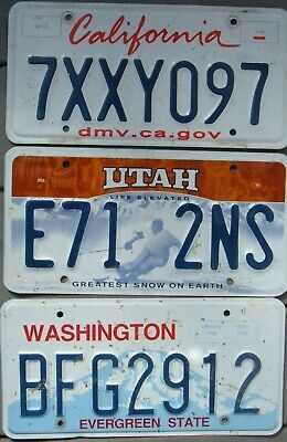 Lot of 3 Different US license plates  Craft grade     CA  UT  WA