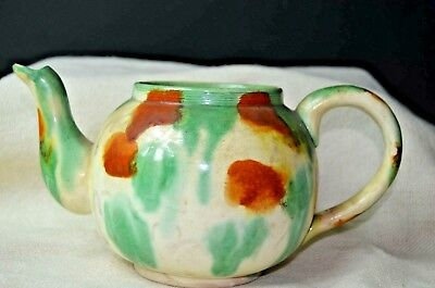 19th CENTURY ANTIQUE CHINESE POTTERY EGG AND SPINACH PATTERNED TEAPOT