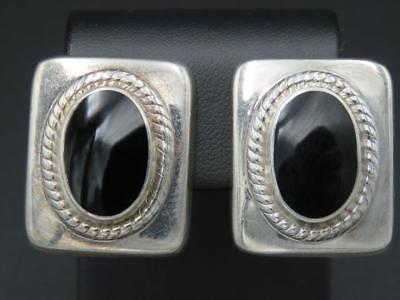 Vintage Sterling Silver Black Onyx Inlay Large Modernist Clip On Earrings