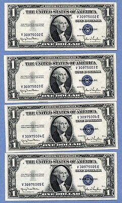 1935-D $1 Silver Certificate Set Of Four Consecutive Notes.
