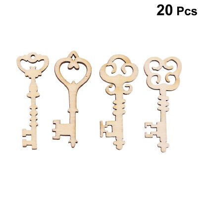 20 Pcs Unfinished Handmade Natural Wooden Keys Patterned Embellishment for Shoes