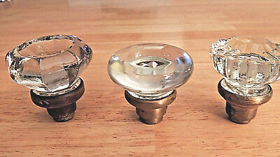 Lot (3) Antique Different Glass Door Knobs, Round, 8-Point, 12-Point, Used
