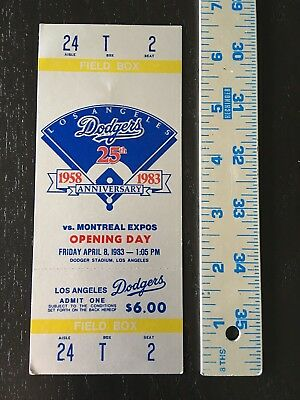 Vintage 1983 Dodgers Vs Expos Opening Day Baseball Full Game Ticket Unused