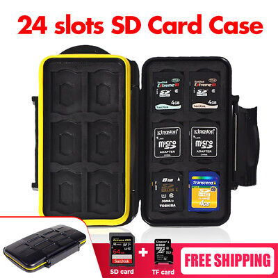Water Resistant Holder Storage Memory Card Case Fits 12 SD +12 Micro SD TF Cards