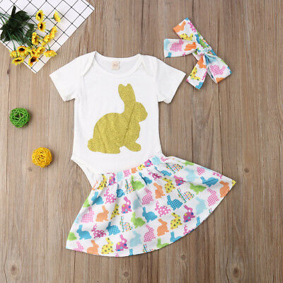 UK Stock Newborn Baby Girl Easter Bunny Cotton Top+Skirt Headband Outfit Clothes