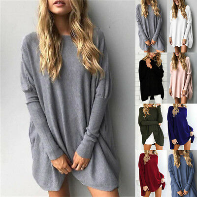 Womens Pullover Long Sleeve Plain Sweatshirt Blouse Ladies Loose Hoodies Jumper