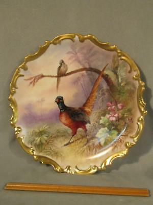 """Large 13"""" Antique Limoges French Porcelain Charger Plate With Birds"""