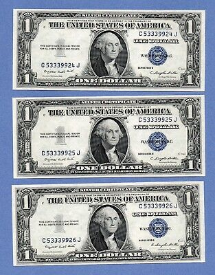 1935-G $1 Silver Certificates 3 Consecutive Dollar Bills Us Paper Money