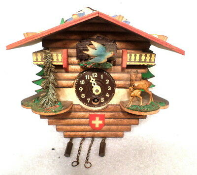 Very Interesting Colorful Animated Chalet Cuckoo Clock