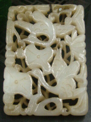 Antique Chinese Nephrite Celadon-HETIAN-Jade Hollow TWO-BIRDS Statues/Pendant