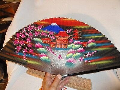 Vintage Hand Fan Mt Mount Fuji Pagoda Temple Hand Painted 23 Inches Wide W Box