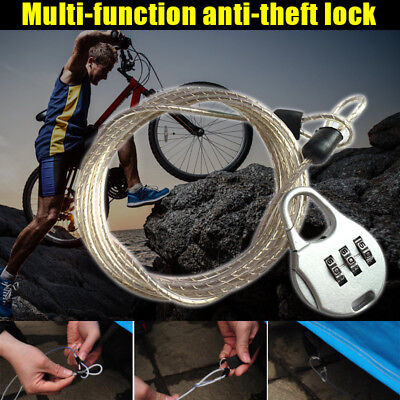 Bike Bicycle Lock 3 Digit Combination Code Steel Cable Security Password Cycling
