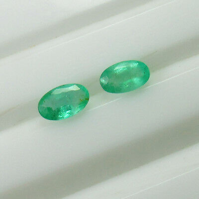 0.47 Ct - Natural Emerald Pair - Top Green Luster  Oval - Zambian Untreated