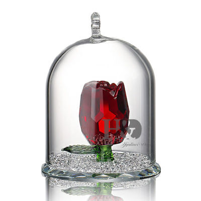 Crystal Cut Glass Red Rose Figurines Flower Collectibles Valentine Lady Gift