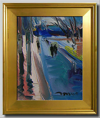 Jose Trujillo Framed Original Canvas Oil Painting Expressionist People Evening