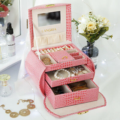 Leather Jewelry Box Storage Makeup Organizer Mirror Case Necklace Ring Pink Box