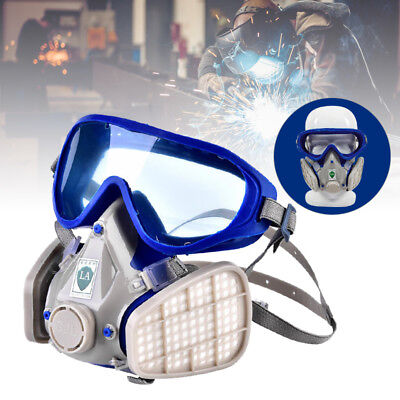 Silicone Full Face Respirator Gas Mask & Goggles Anti Dust Protection Breathing