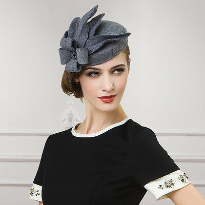 Women Lady Gray Wool Felt Cheltenham Fascinator Flower Hat Cocktail Party A302