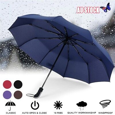 Black Portable Automatic Windproof Compact Rain Folding Umbrella 10 Frames AU