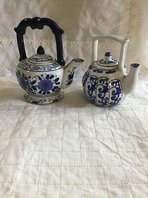 Miniature Teapots In Blue And White